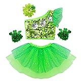 IEFIEL Mono de Danza Ballet Niña Leotardo Conjunto 4 Piezas Crop Top Brillante +Falda Tutú Infántil con Tanga Interior +Pulseras+Pinza Flor Verde 120cm