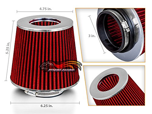"""RED 3"""" 76 mm Inlet Cold Air Intake Cone Replacement Performance Washable Clamp-On Dry Air Filter"""