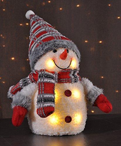 Schneemann mit Schal und Bommelmütze 26cm hoch 6 warmweiße LED 76180 innen