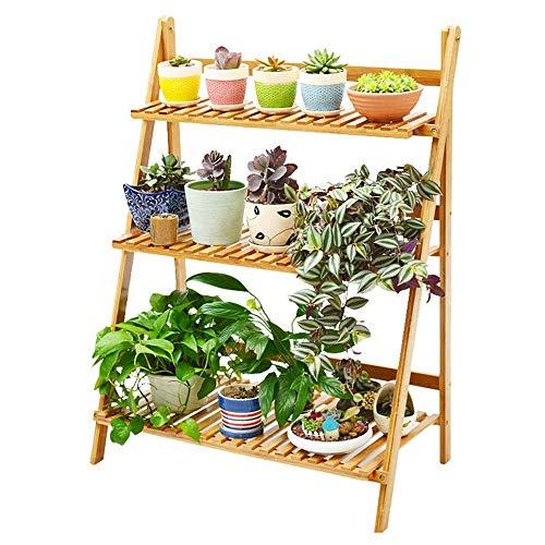 Soporte para plantas Estantes para jardín Maceta de madera para jardín Escalera de exhibición de plantas y hierbas plegable de 3 niveles Escalera de flores con escalera de 3 escalones para decoración
