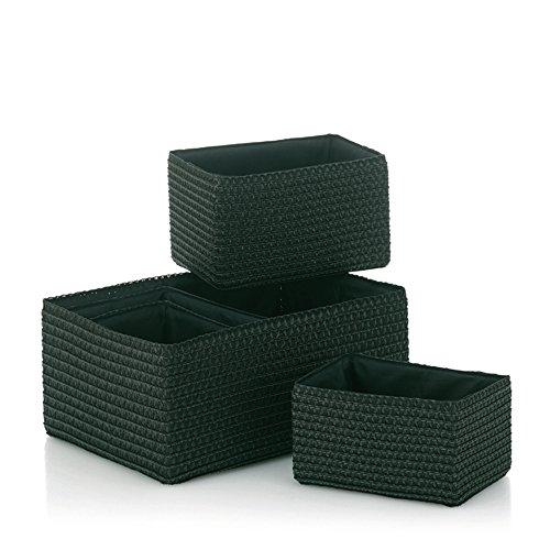 Kela 21780 Korb-Set 5tlg, Unterschiedliche Größen, PP-Kunststoff, Rimossa, Schwarz
