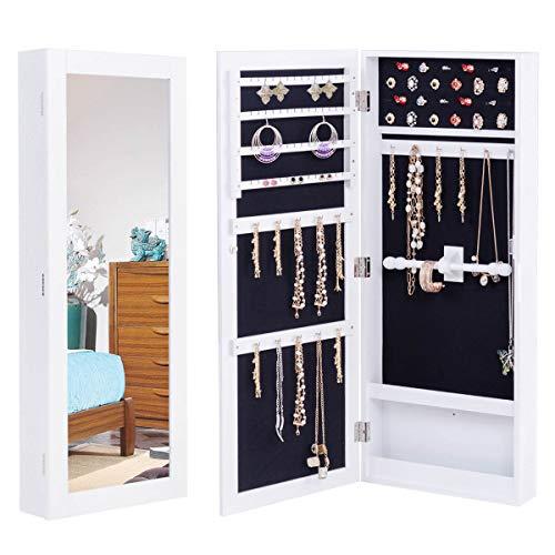 RELAX4LIFE Schmuckschrank, Standspiegel, Schmuckregal für Ohrringe & Halskette & Armband, Schmuckaufbewahrung für Schmuckgeschäft & Garderobe, Spiegelschrank Wandmontage, MDF, 35 x 9 x 88 cm, weiß