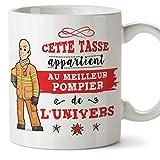 MUGFFINS (Taza en francés) Chimenea Tazas Originales de café y Desayuno para obreros Profesionales. Esta Taza Pertenece al Mejor Pompeur del Universo. Cerámica 350 ml