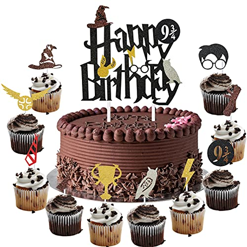 Harry Happy Birthday Cake Topper and Cupcake Toppers Cake Decorations Set