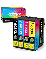 Jetingo 603XL Compatibel met Epson 603 603XL Inktpatronen Multipack, voor Expression Home XP-2100 XP-2105 XP-3100 XP-3105 XP-4100 XP-4105, Workforce WF-2810 WF-2830 WF-2835 WF-2850 4Pack