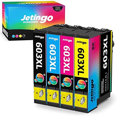 Jetingo - Confezione da 4 cartucce di ricambio per Epson 603 603 XL per Expression Home XP-2100 XP-2105 XP-3100 XP-3105 XP-4100 XP-4105, Workforce WF-2810 WF-2830 WF-2835 WF-2850