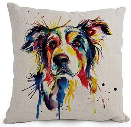 MLNHY Aresd Polyester Cartoon Lovely Animal Abstract Oil Painting Adorable Pet Dogs Border Collie Throw Pillow Covers Cushion Cover Decorative Sofa Bedroom Living Room Square,18X18 inch