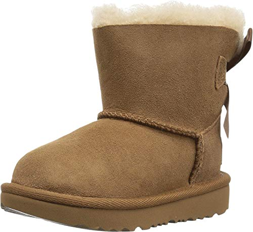 UGG Unisex Baby T Mini Bailey Bow II Pull-On Boot, Chestnut, 23.5 EU