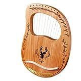 Kacsoo Lyre Harp 16 cuerdas, arpas de lira de madera maciza de caoba con bolsa de transporte/llave de afinación/púa de cuerda, adecuado para amantes de la música, principiantes, niños (16-String)