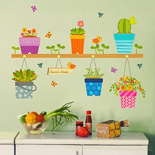 Runinstickers muurstickers, landhuisstijl, kleine groene bladeren, bloempot, vlinder, zelfklevend, voor woonkamer, bank, tv-achtergrond