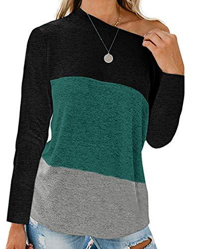 kenoce Camiseta de manga larga para mujer, cuello en V, asimétrico, camiseta de manga larga, informal, sexy E-negro. XL