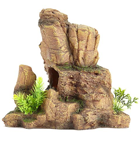 Pet Ting Orgullo Ornamento Decoración Lagarto Vivarium Peces Escalando Roca, 24 cm