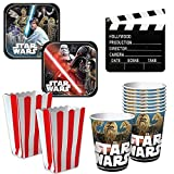 Party City Star Wars Movie Night Kit, Party Supplies, Includes Cups, Dessert Plates, Popcorn Buckets and Clapboard