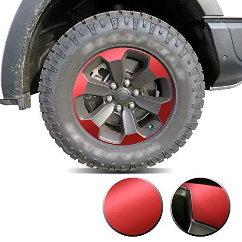 Optix Full Wheel Overlay Rim Accent Vinyl Decal Wrap Compatible with Ram Rebel 2019 2020 - Metallic Matte Chrome Red
