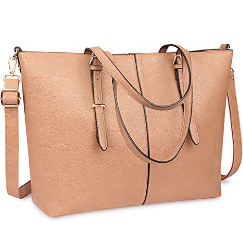 Laptop Bags for Women 15.6 inch Large Leather Tote Bag Ladies Laptop Handbag Computer School Shoulder Bag Lightweight Business Work Bag