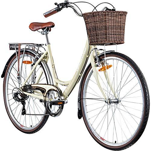 Galano Piccadilly 28 Zoll Damenfahrrad 7 Gang Citybike Stadt Fahrrad Damenrad Hollandrad (Elfenbein, 41 cm)