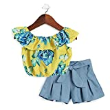 Hopscotch Baby Girls Cotton Floral Sleeveless Top with Shorts in Yellow Color for Ages 12-24 Months