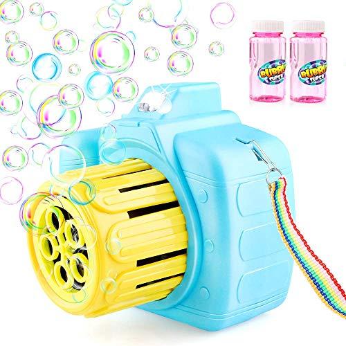 Baztoy Máquina Burbujas, Colgante & Portable Maquina Pompas Jabon para Niños con 2 Botellas Pompas de Jabón, Juguete de Baño Pomperos para Niños 3 4 5 6 7 8 9 10 11 Años Regalos Navidad Cumpleaños