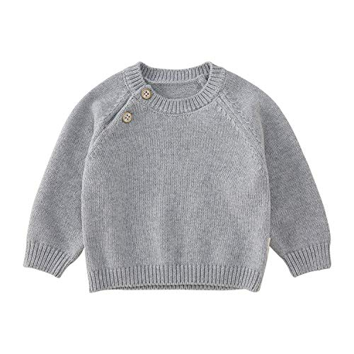 pureborn Baby Cotton Knit Solid Pullover Sweater Unisex Dark Grey 12 Years