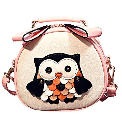 Fanspack Girls Mini Crossbody Bag PU Leather Shoulder Bag Purse Cute Cartoon Owl Handbag for Women