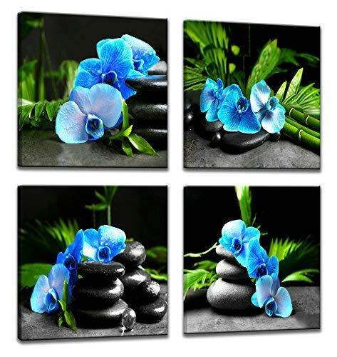 Leinwand-Malerei 4 Panels Bamboo Green Bilder Mit SPA Zen Stone Kerzen Blumen-Druck Auf Segeltuch-Wand-Kunst for Hauptdekor Badezimmer Wohnzimmer JYSLR056 Hohe Qualität