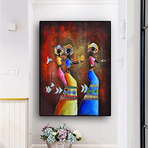 hetingyue Vintage African Woman Abstract Oil Painting on Canvas for Posters and Prints Scandinavian Living Room Mural Frameless Painting 80X107CM