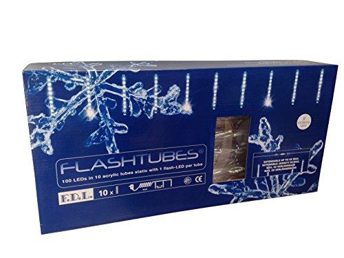 FDL Snowtubes 10 Licht Röhren mit flash, höhe 35 cm / 100 cm Abstand / 9 Statisch 1 Flash / 10 m Anlaufkabel, kaltweiß 38811
