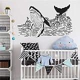 Ajcwhml Autocollant Mural Baleine Vagues de Baleine Dessin Sticker Mural décor pour la Maison Autocollant en Vinyle Amovible pour Les Chambres d'enfants décoration décalcomanies 42x26cm
