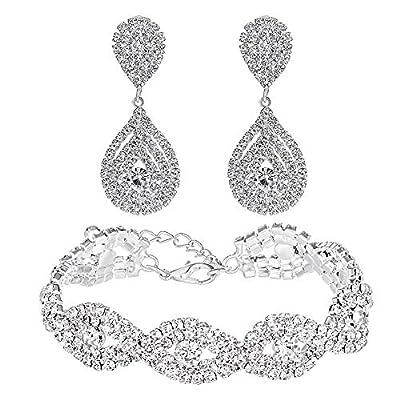 Miraculous Garden Silver Plated Crystal Rhinestone Teardrop Drop Dangle Earrings Link Tennis Bracelet Jewelry Set for Women Girls,2 Pack Women's Bridal Wedding Party Bridesmaid Prom Jewelry Gift.