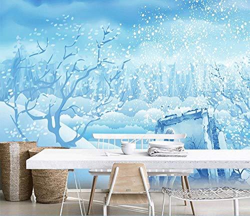 Sneeuwvlok behang muurschildering hout sneeuw scène behang tv-kast woonkamer elk TV achtergrond muurschildering 200 * 140cm(78.7 x 55.1 inch)