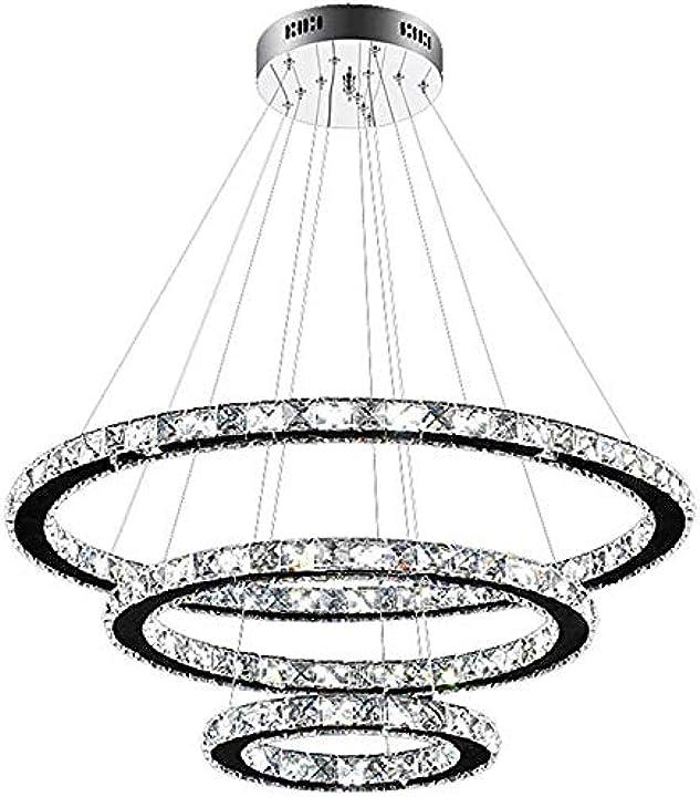 Lampadario di lusso a tre anelli in cristallo (dimmerabile in tre colori) (con telecomando)  sun dong sheng B0832MM7B8