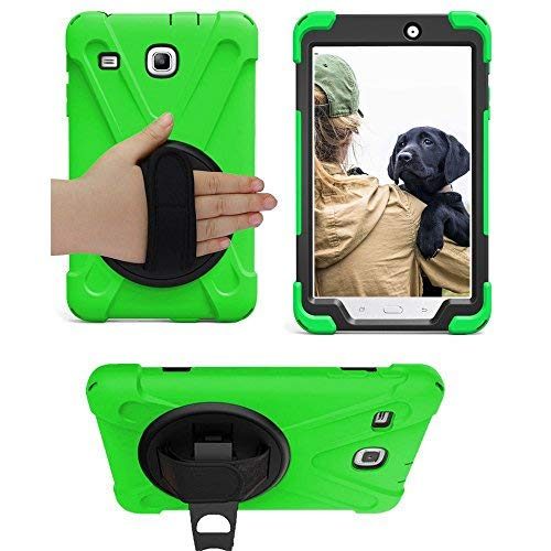 Galaxy Tab E 8.0 T377 Case, KIQ Cover Shockproof Protective Shield Case Cover Palm Handstrap for Samsung Galaxy Tab E 8.0 SM-T377 [2016] SM-T377 (Shield Green)