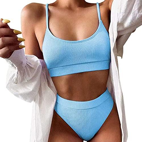 MUGE LEEN Mujeres Sexy Bikini de 2 Piezas Conjunto Push Up Traje de baño Acanalado Traje de baño de Color sólido Traje de baño para Mujer Azul