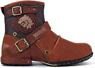 ORANDESIGNE Bottes Vintage à Lacets Homme Automne Hiver Fourrées Boots en Cuir Imperméable Chaussures à Lacets Bottes de Moto