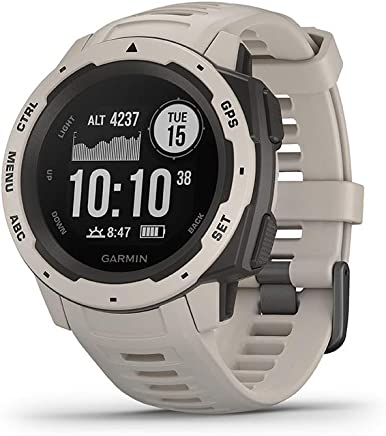 """Garmin 010-02064-01 Instinct, Rugged Outdoor Watch with GPS, Features GLONASS and Galileo, Heart Rate Monitoring and 3-axis Compass, Tundra, 1.27"""""""