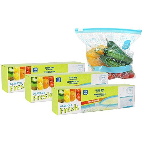 com-four® 45x Frischhaltebeutel zum Verschließen, wiederverschließbare Beutel zur Lebensmittelaufbewahrung für Obst, Gemüse, Milch, Snacks, Sandwich, Fisch und Fleisch - 1 Liter