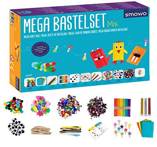 Smowo Mega Bastelset Starterset - Bastelbox Mix - mit kreativen Bastelideen - Bunte Bastelbedarf Box zum basteln für Mädchen und Jungen