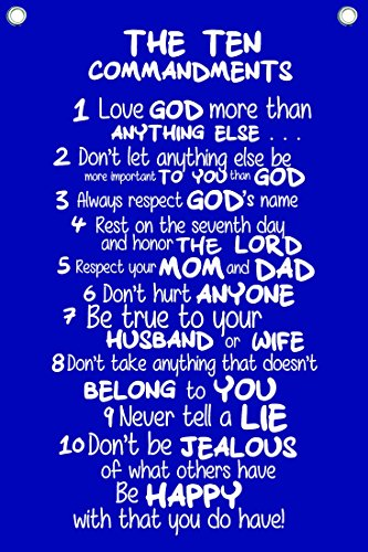 """The Ten Commandments for Kids - Wall Quotes Canvas Banner - In Navy Blue - 12"""" Wide By 18"""" High"""