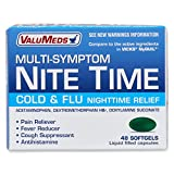 ValuMeds Cough, Cold, and Nighttime Relief (48 Softgels) Helps Relieve Sore Throat, Fever, Headaches, Runny Nose, Aches