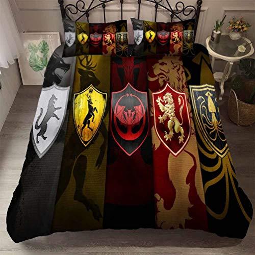 DCWE Juego de cama de Juego de Tronos con funda de edredón y funda de almohada con cierre de...