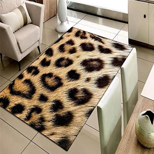 VGFGI Marrón-Amarillo Leopardo Piel de Animal impresión 3D Microfibra Antideslizante decoración de la Sala Alfombra Lavable Moderna
