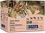 BOZITA Multibox Mixpack Rentier, Rind, Elch, Hühnchenleber Häppchen in GELEE 12x85g Pouch Portionsbeutel -...
