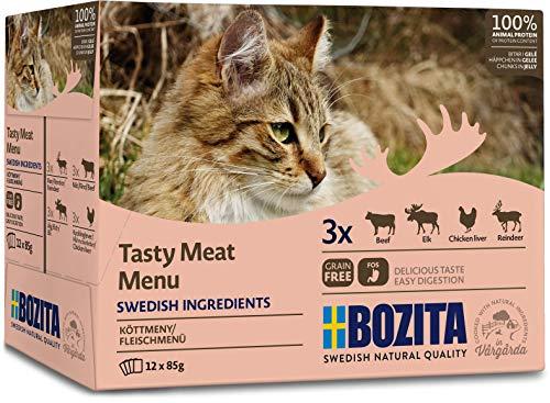BOZITA Multibox Mixpack Rentier, Rind, Elch, Hühnchenleber Häppchen in GELEE 12x85g Pouch Portionsbeutel - getreidefreies Nassfutter für erwachsene Katzen
