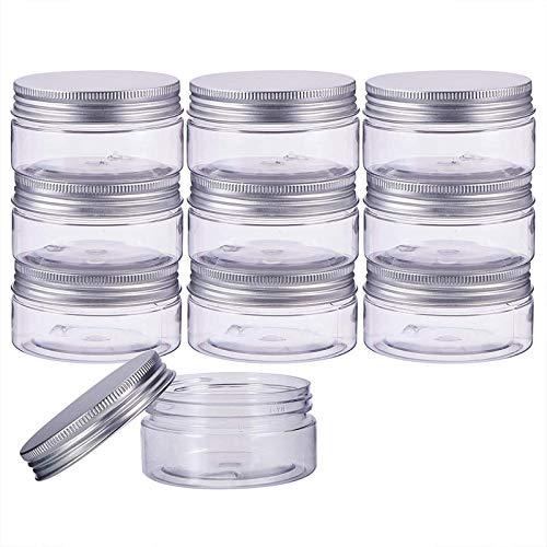 litulituhallo 2 8 oz 80 ml columna contenedores de almacenamiento transparentes de plástico frascos organizadores con aluminio 10 unidades