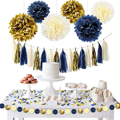 NICROLANDEE Navy Blue Gold Party Decoration Kit - Nautical Baby Shower Hanging Pom Poms Paper Garland Party Confetti for Wedding Bridal Shower Get Ready Birthday Bachelorette