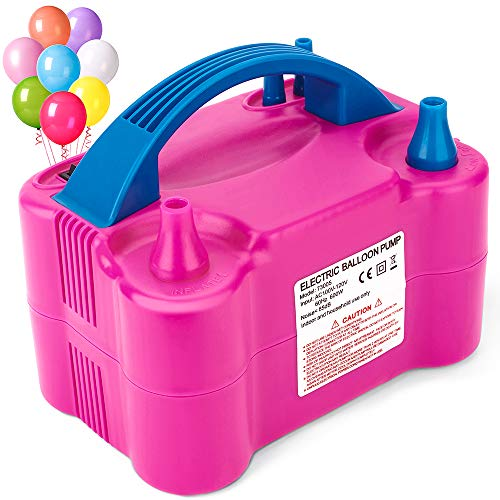 MESHA Air Balloon Pump Electric, Portable Inflator Dual-Nozzle Globos Machine, Air Balloon Blower Filler, Buddy for Party Balloon Arch & Column Stand 110V 600W Air Pump-Rose Red