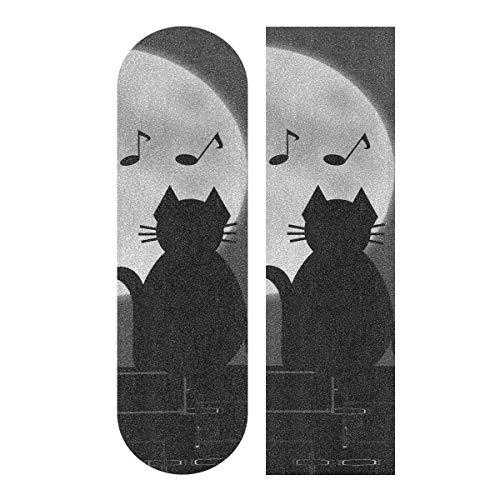 LMFshop 33,1x9,1 Zoll Sport Outdoor Longboard Griptape Niedlichen Tier Katze Kätzchen Music Note Moon Print Wasserdicht Skateboard Griffband Für Tanzbrett Doppel Rocker Board Deck 1 Blatt