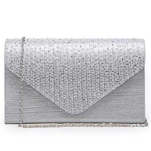 """MATERIAL: Made of high quality satin. Subtly pleated flap with magnetic closure. SIZES: 8.5""""W x 5""""H x 2""""D. Detachable chain strap can hand the bag as clutch, 45 inches length can be used as crossbody bags. POCKETS: Interior features a back-wall multi..."""