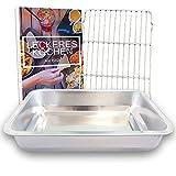 YUGN Bräter mit Grillrost - Ofenform Bratenform Edelstahl Bratpfanne mit Rost Für Ofengeschirr - Spülmaschinenfest 40x30x7CM - Kostenloses eBook