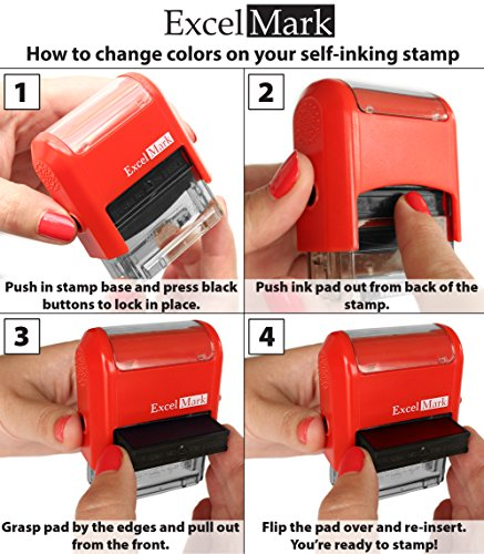 Sign HERE - ExcelMark Self-Inking Two-Color Rubber Office Stamp - Red and Blue Ink Photo #7